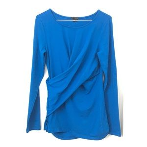 Theory Blue Long Sleeve Cross-Over Top